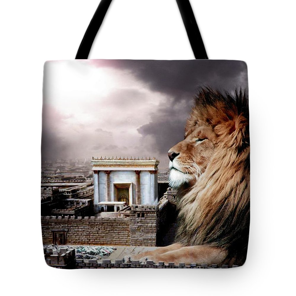 Lions Tote Bag featuring the digital art Yeshua In The Outer Court by Bill Stephens