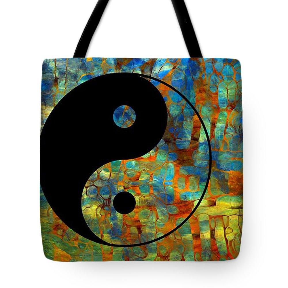 Yin Yang Abstract Tote Bag featuring the digital art Yin Yang Abstract by Dan Sproul