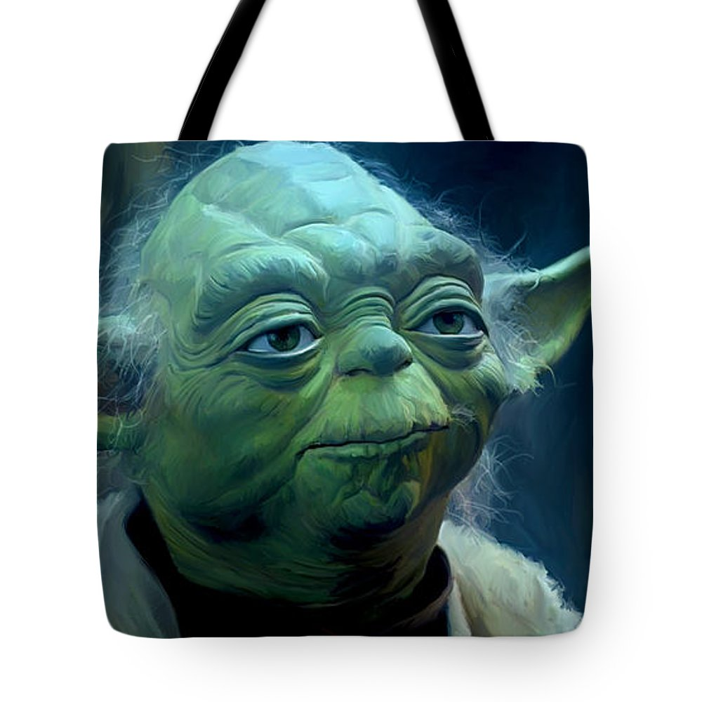 Star Wars Tote Bag featuring the painting Yoda by Paul Tagliamonte