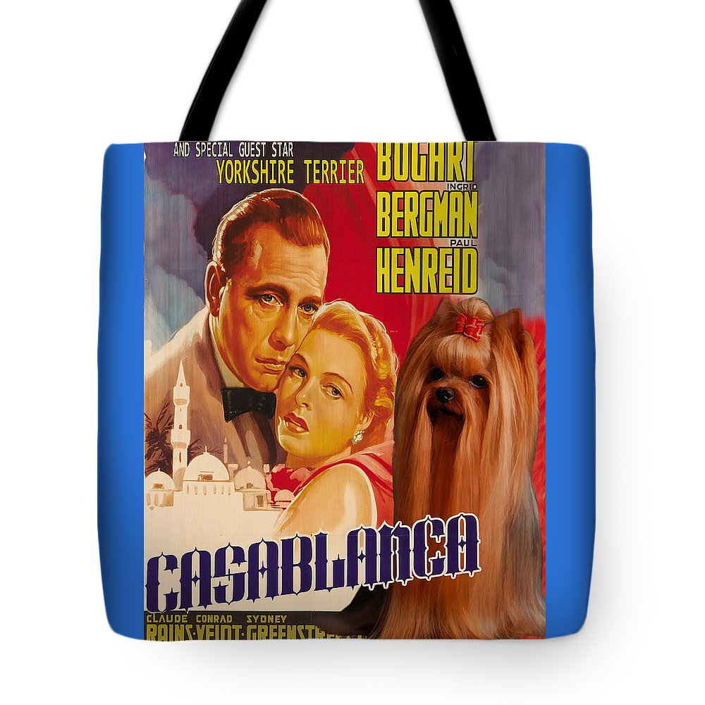 Yorkshire Terrier Tote Bag featuring the painting Yorkshire Terrier Art Canvas Print - Casablanca Movie Poster by Sandra Sij