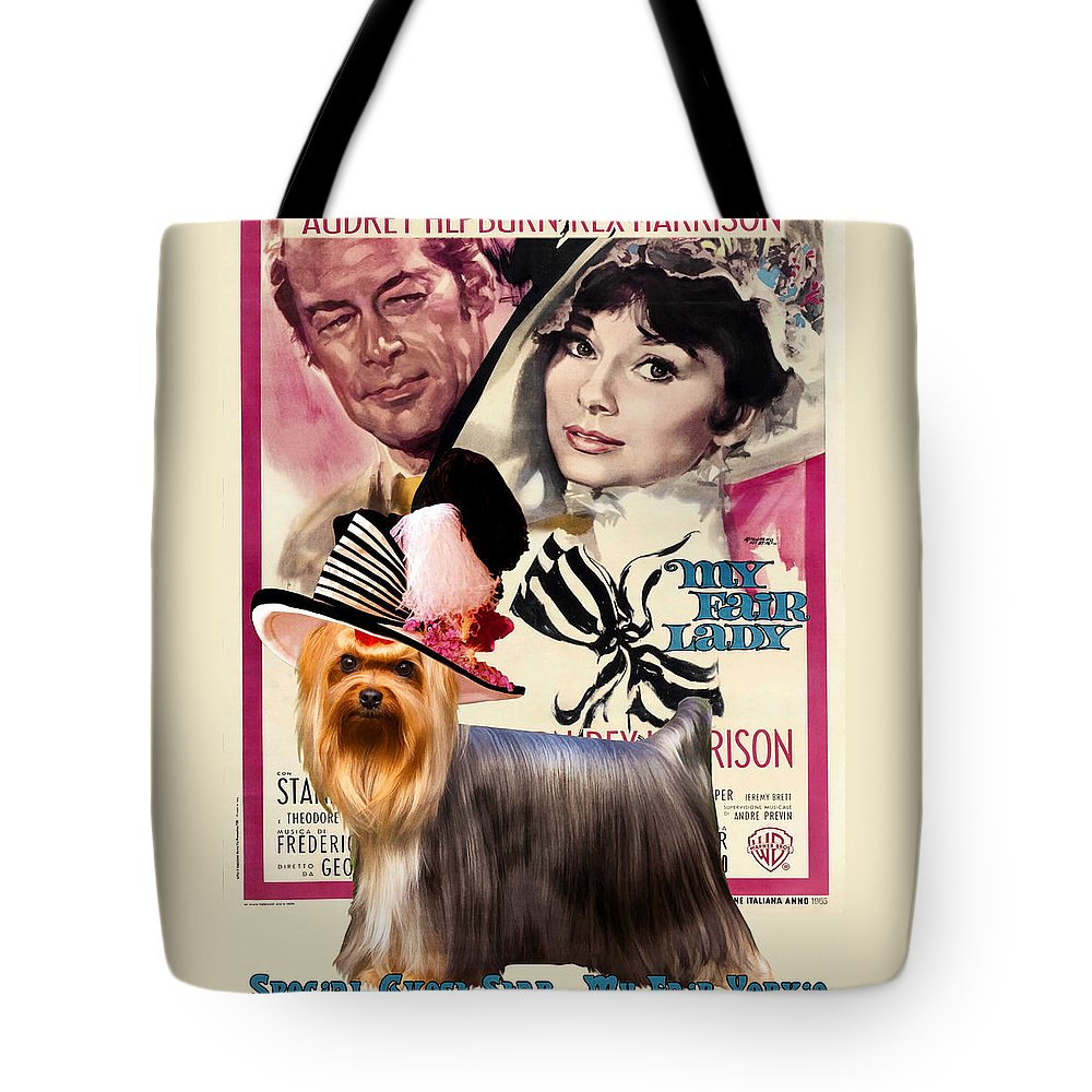 Yorkshire Terrier Tote Bag featuring the painting Yorkshire Terrier Art Canvas Print - My Fair Lady Movie Poster by Sandra Sij