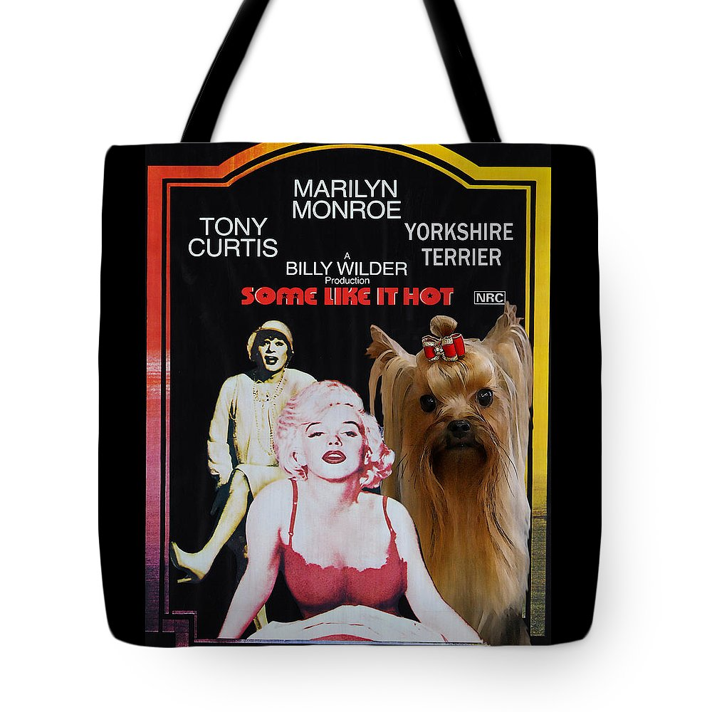 Yorkshire Terrier Tote Bag featuring the painting Yorkshire Terrier Art Canvas Print - Some Like It Hot Movie Poster by Sandra Sij