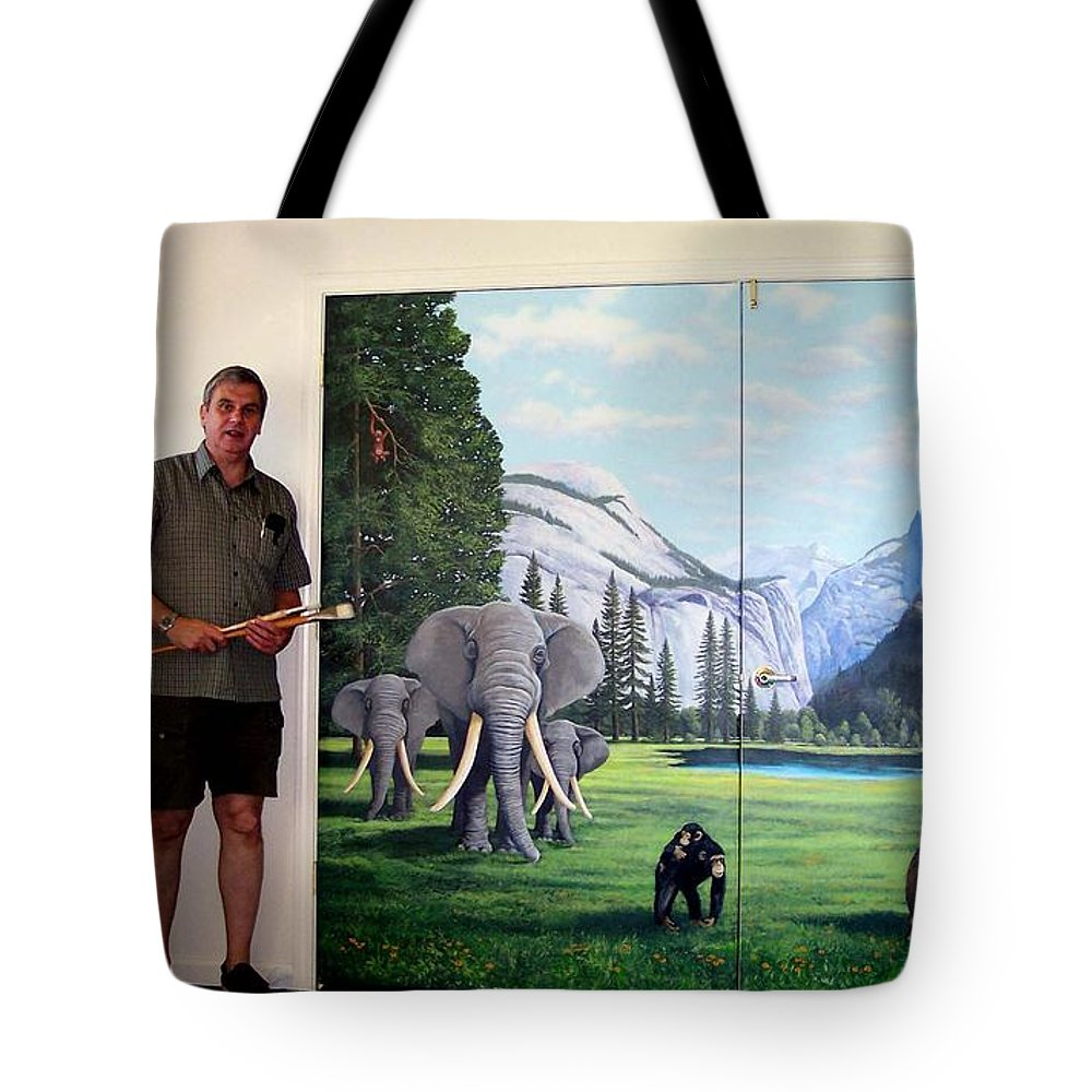Mural Tote Bag featuring the painting Yosemite Dreams Mural On Doors by Frank Wilson