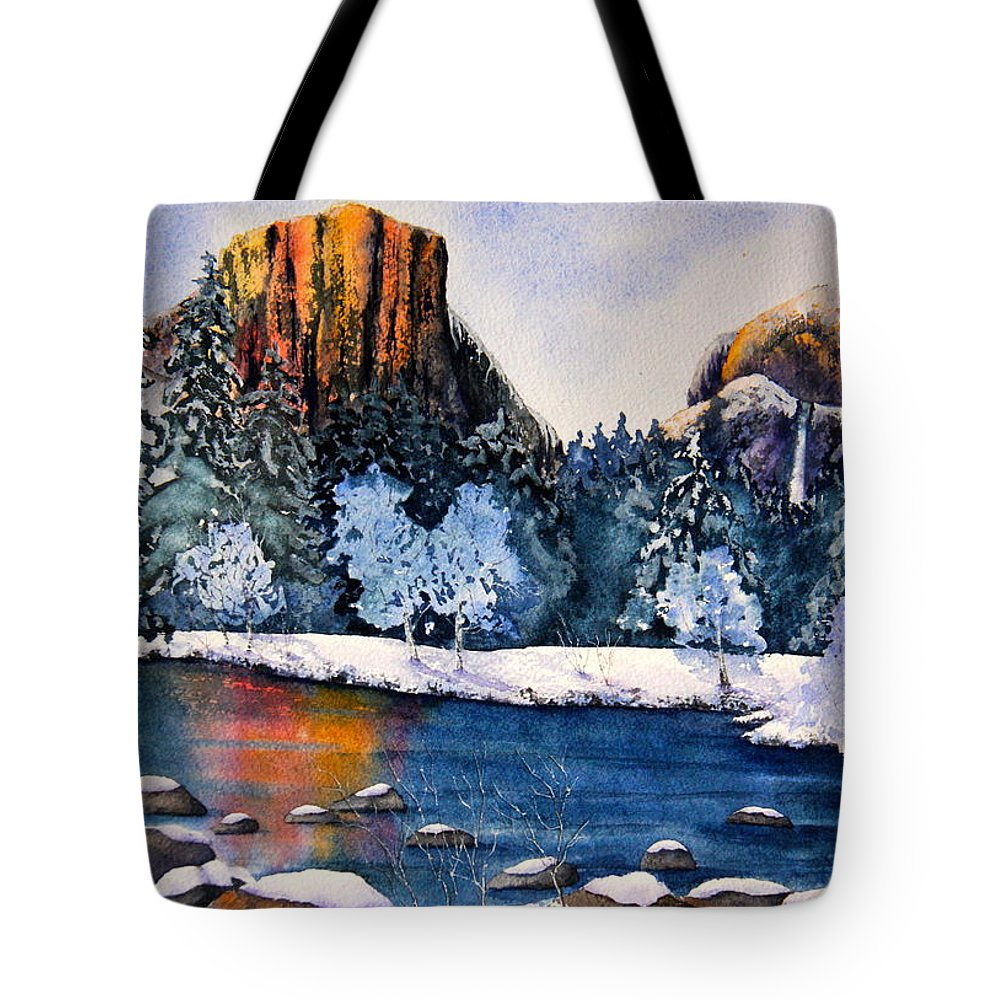 Mountains Tote Bag featuring the painting Yosemite In Winter I by Eva Nichols