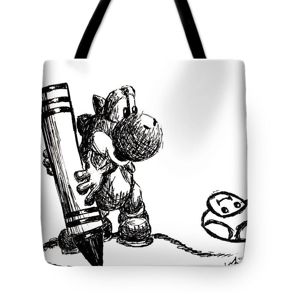 Yoshi Tote Bag featuring the drawing Yoshi by Kayleigh Semeniuk