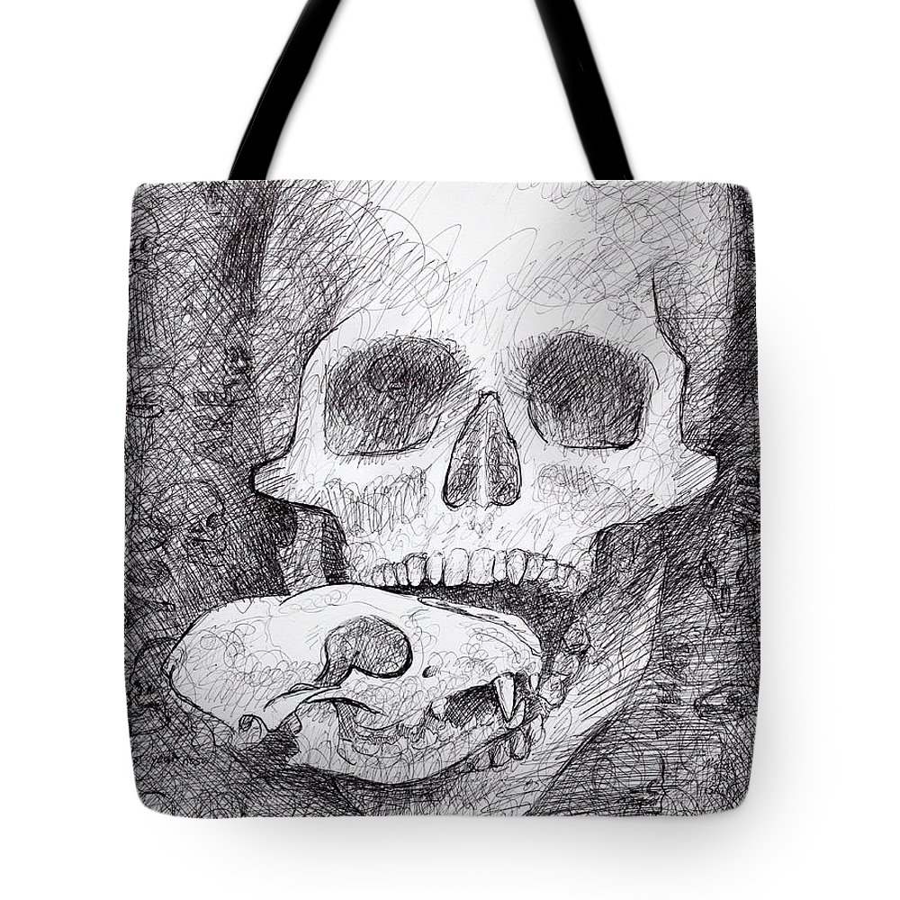 Skull Tote Bag featuring the drawing You Are What You Eat Skull Drawing by Adam Long