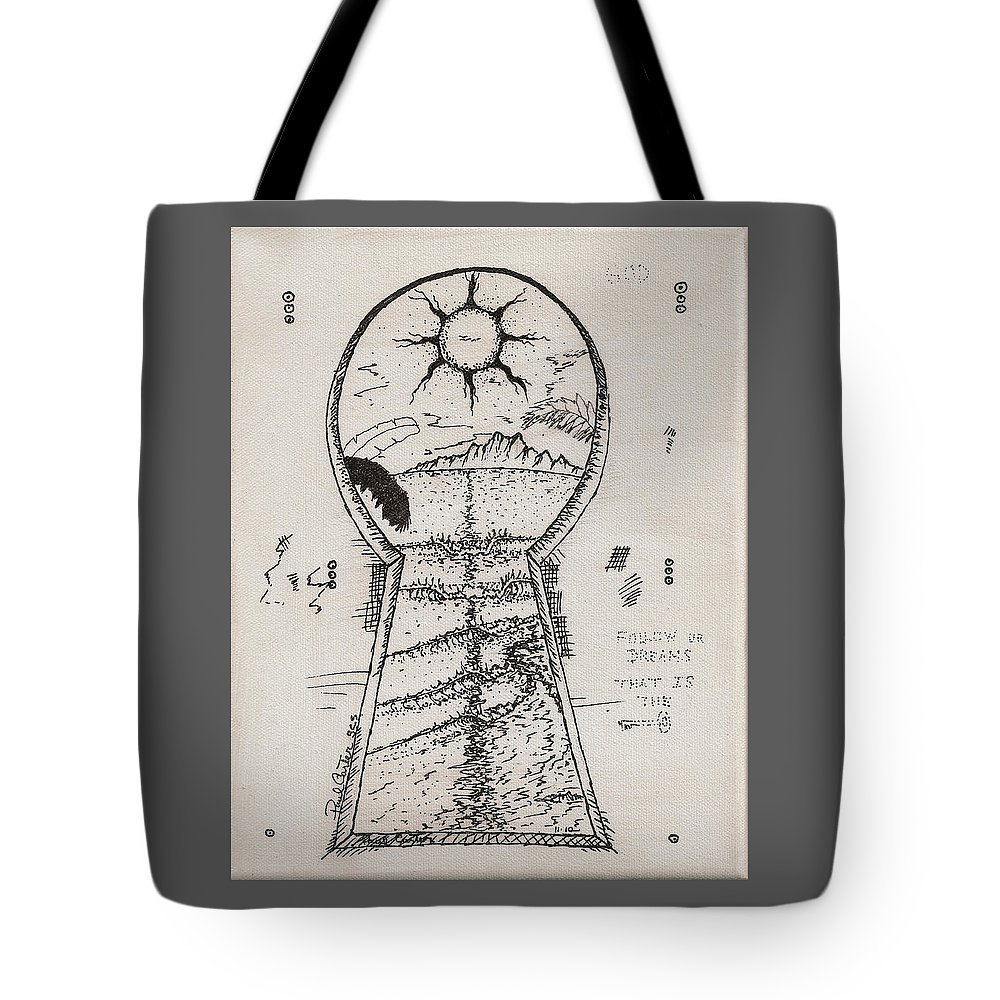 Keyholedrawing Tote Bag featuring the drawing You Hold The Key by Paul Carter