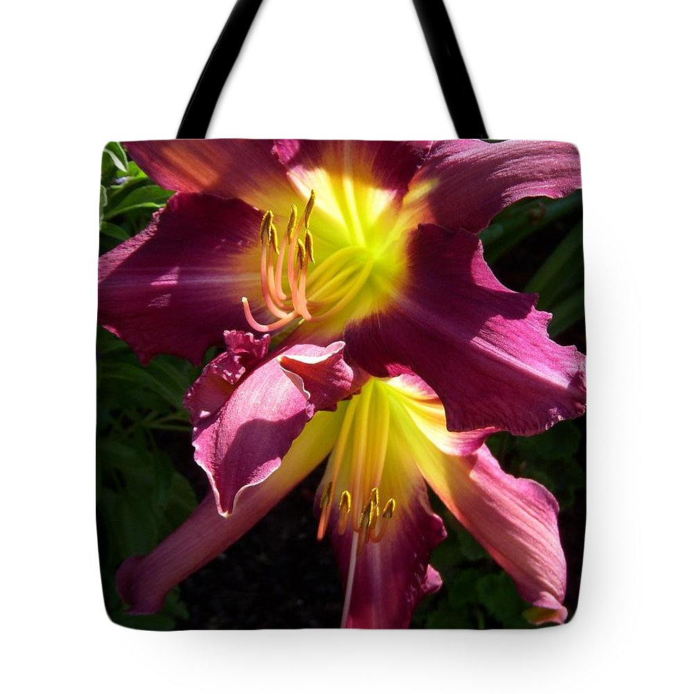 Day Lily Tote Bag featuring the photograph You Light Up My Life by Terri Waselchuk