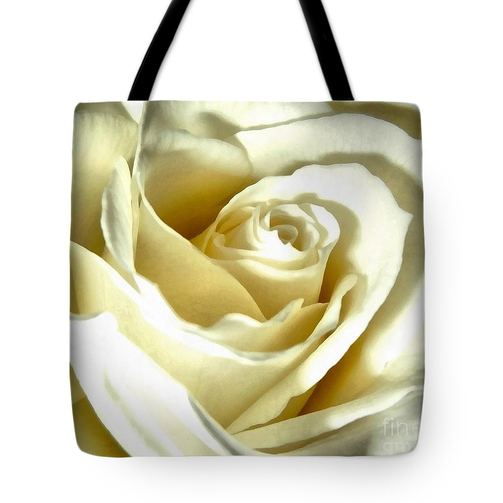 White Rose Tote Bag featuring the photograph You May Kiss The Bride by Janine Riley