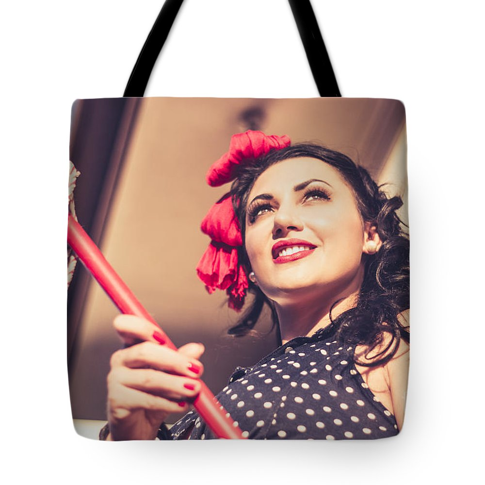 Pinup Tote Bag featuring the photograph Young 50s Brunette Housewife Holding Red Mop by Jorgo Photography - Wall Art Gallery