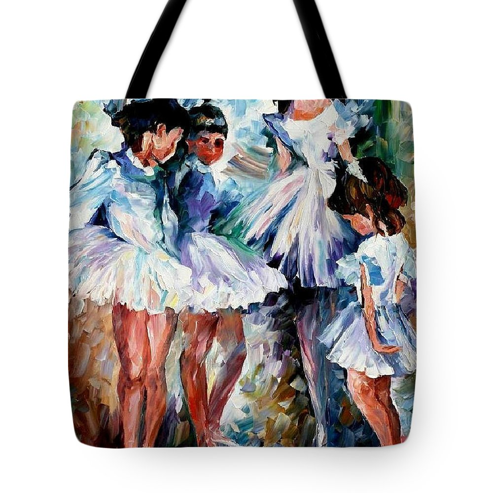 Art Gallery Tote Bag featuring the painting Young Ballerinas - Palette Knife Oil Painting On Canvas By Leonid Afremov by Leonid Afremov