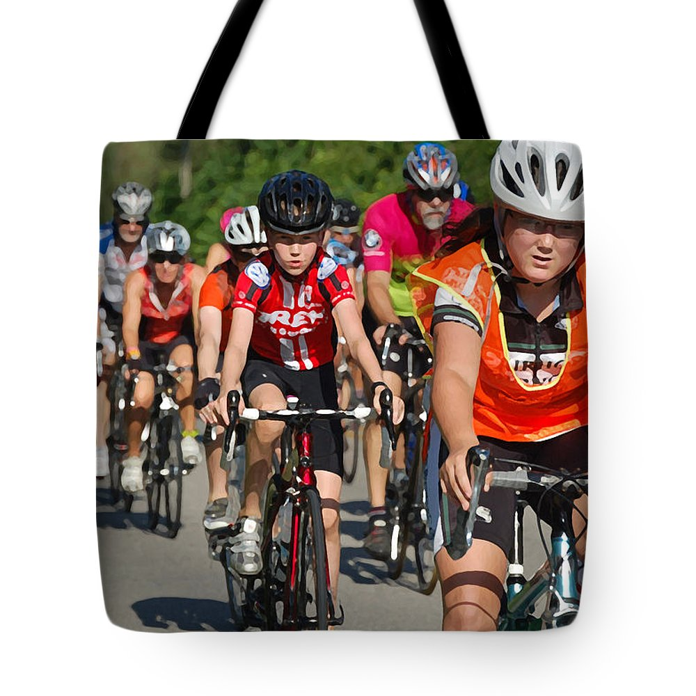 Mobile Tote Bag featuring the digital art Young Bikers by Michael Thomas