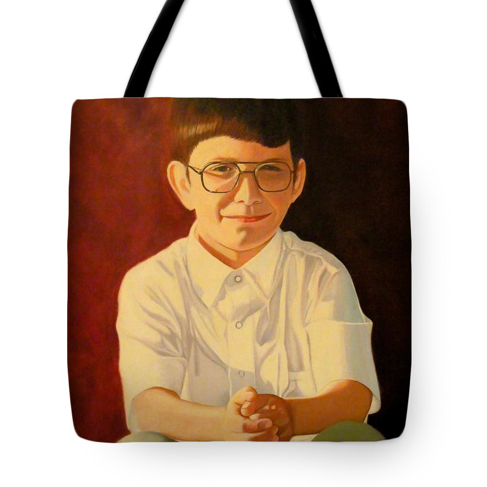 Boy Tote Bag featuring the painting Young Boy by Van Bunch