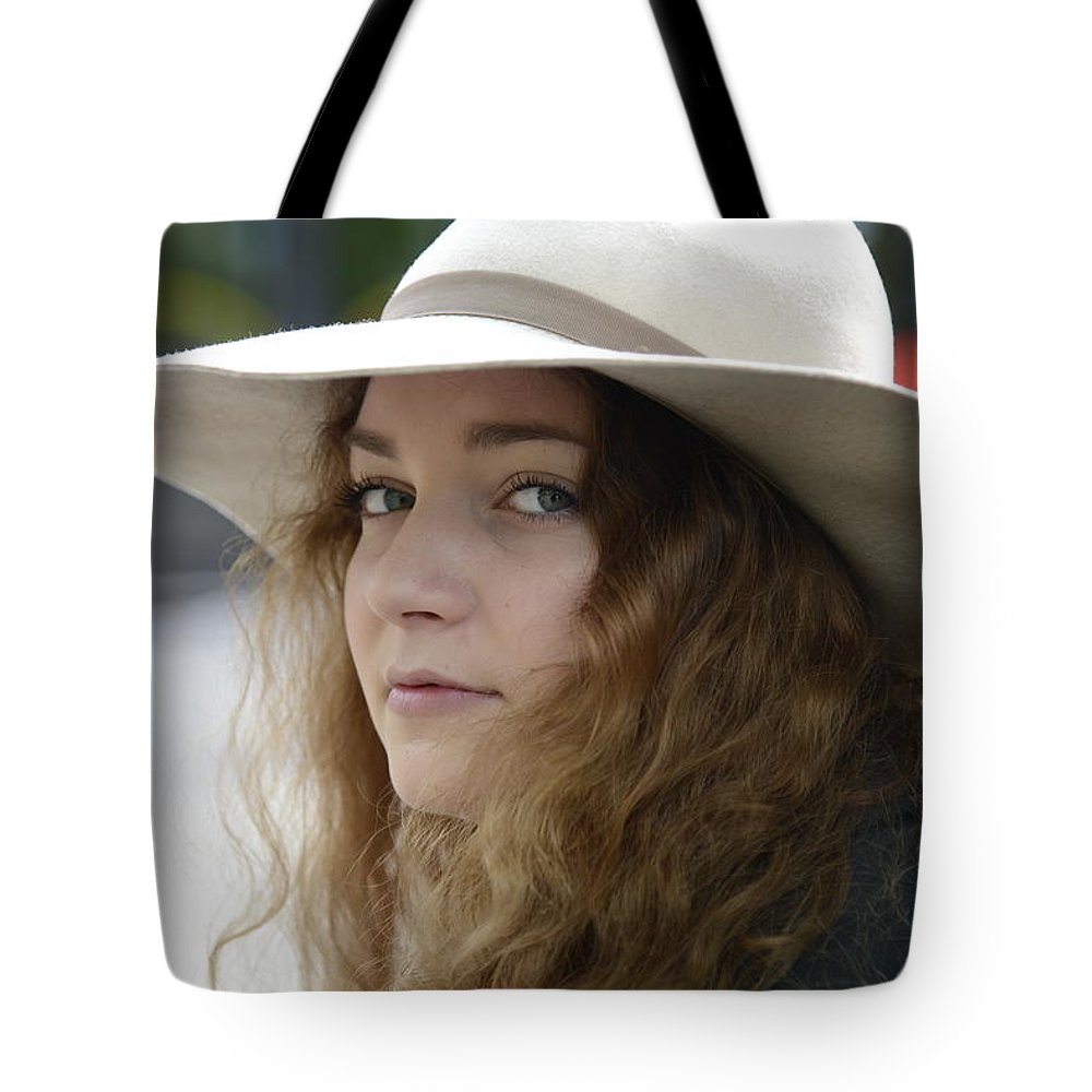 Fine Tote Bag featuring the photograph Young Lady With White Hat 1 by Teo SITCHET-KANDA