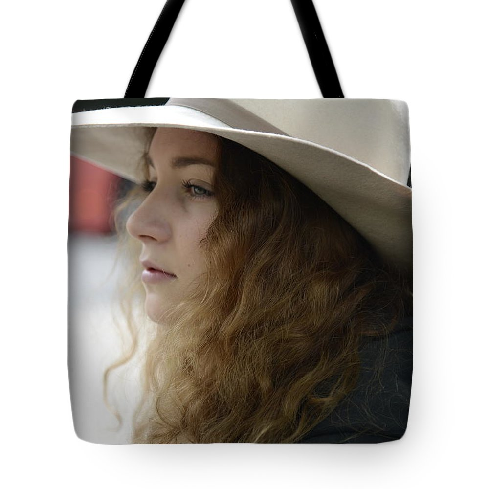 Fine Tote Bag featuring the photograph Young Lady With White Hat 2 by Teo SITCHET-KANDA