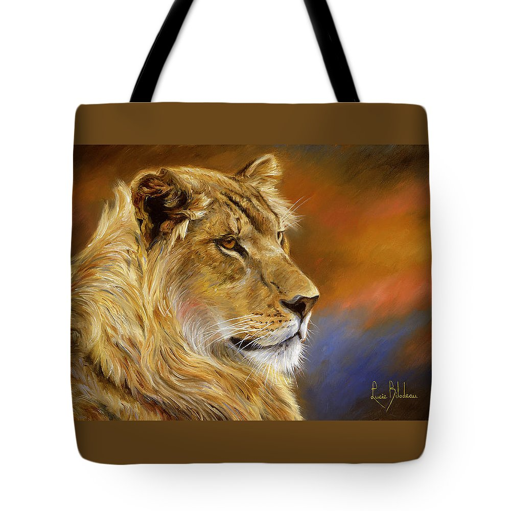 Lion Tote Bag featuring the painting Young Lion by Lucie Bilodeau