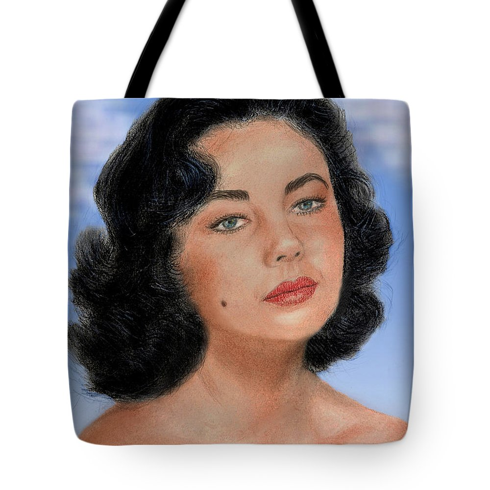Liz Taylor Tote Bag featuring the drawing Young Liz Taylor Portrait Remake Version II by Jim Fitzpatrick