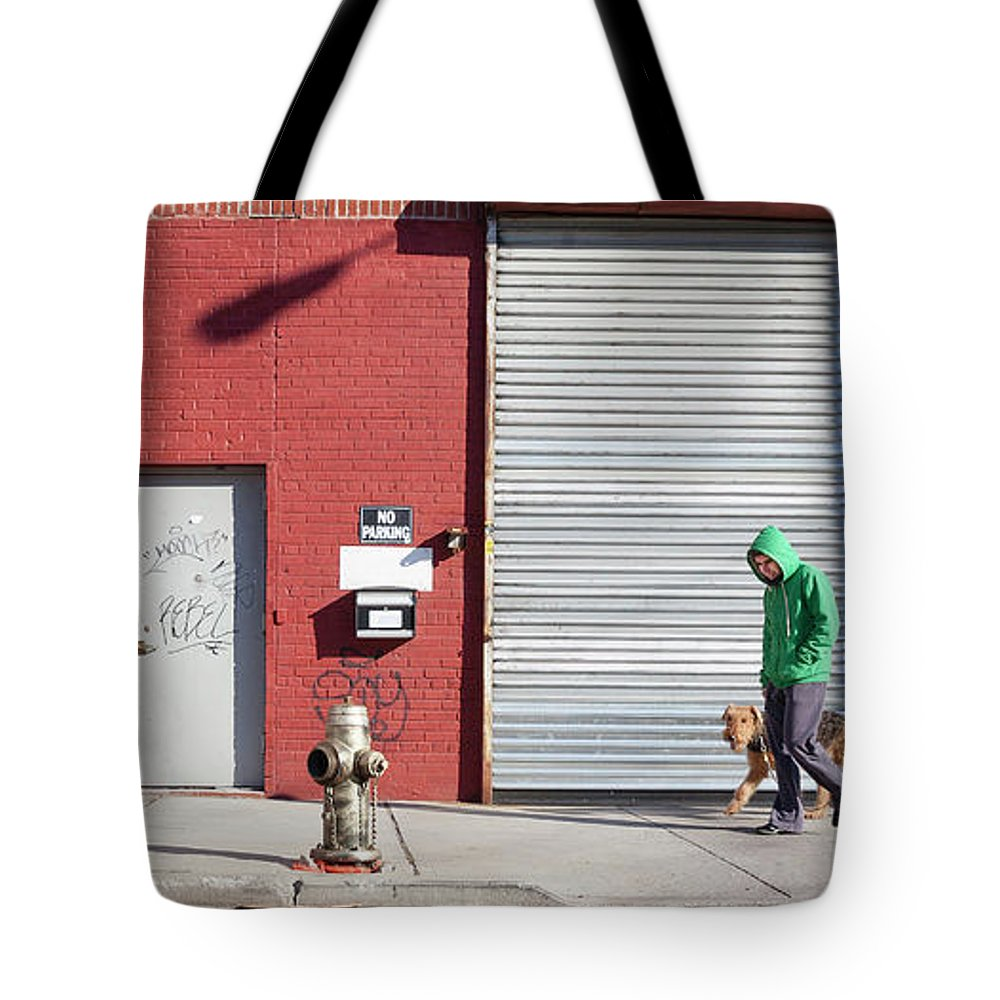 Pets Tote Bag featuring the photograph Young Man Walks Dog by Alex Potemkin