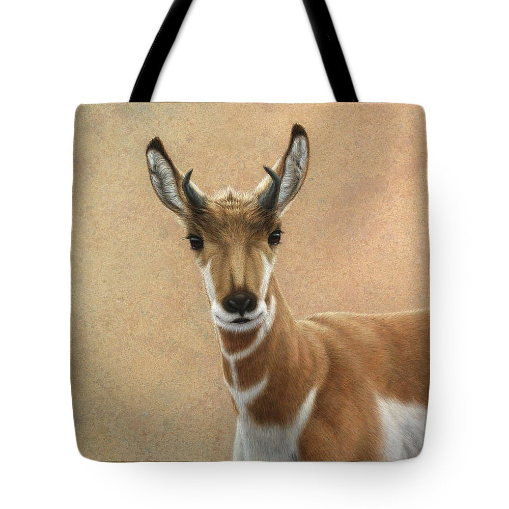 Cute Tote Bag featuring the painting Young Pronghorn by James W Johnson