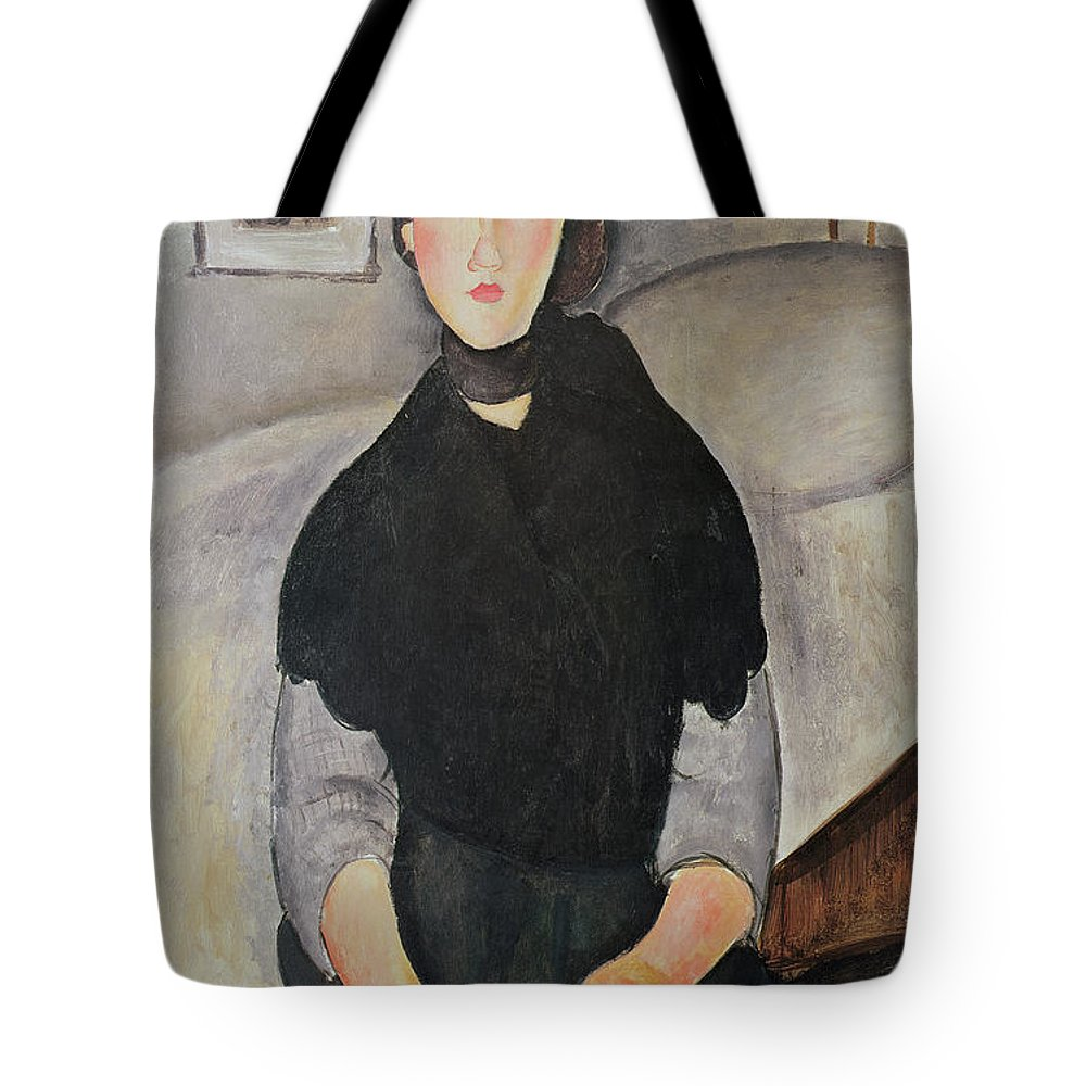 Amedeo Modigliani Tote Bag featuring the painting Young Woman Of The People by Celestial Images
