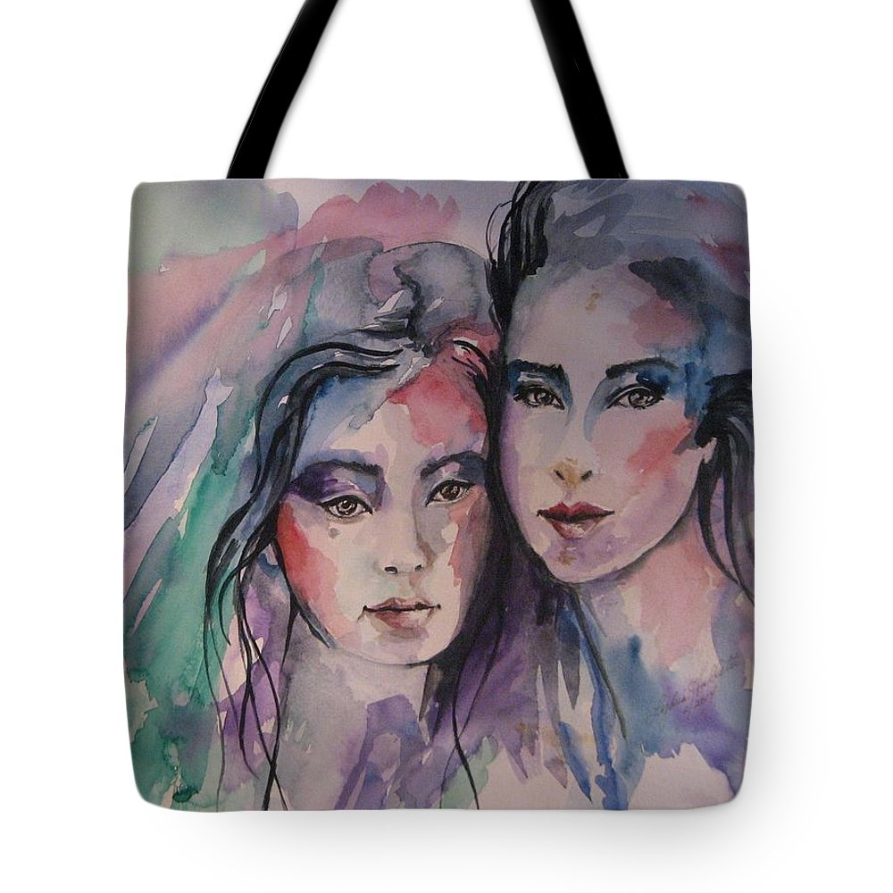 Women Tote Bag featuring the painting Young Women by Lydia Falletti