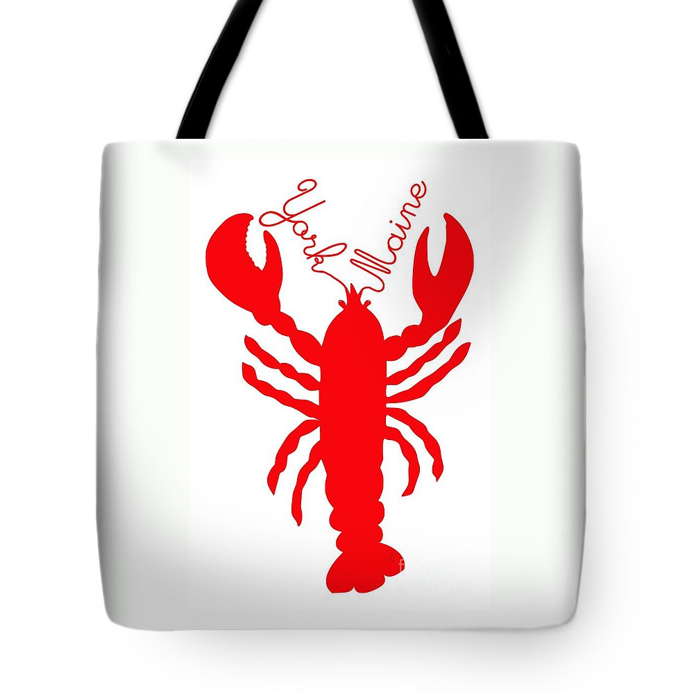 York Maine Lobster With Feelers Tote Bag featuring the digital art York Maine Lobster With Feelers by Julie Knapp