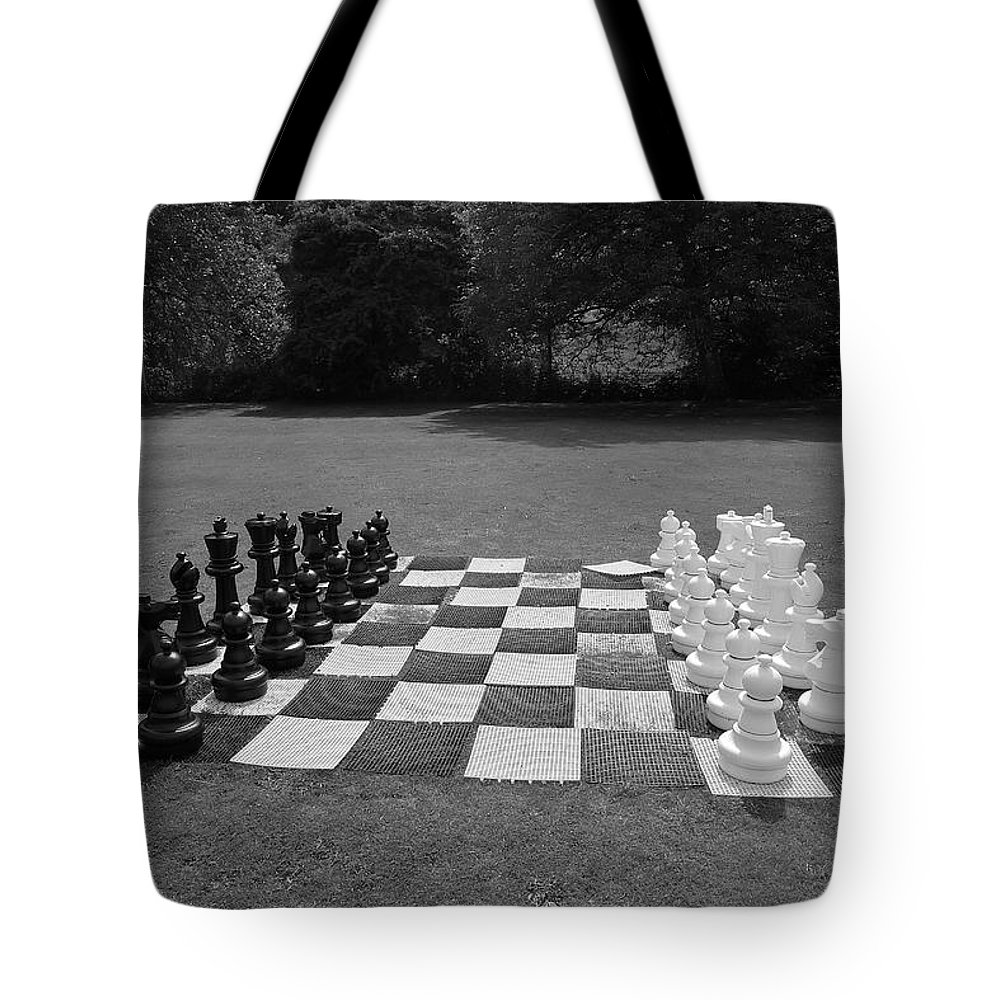 Black And White Tote Bag featuring the photograph Your Move 1 by Denise Mazzocco