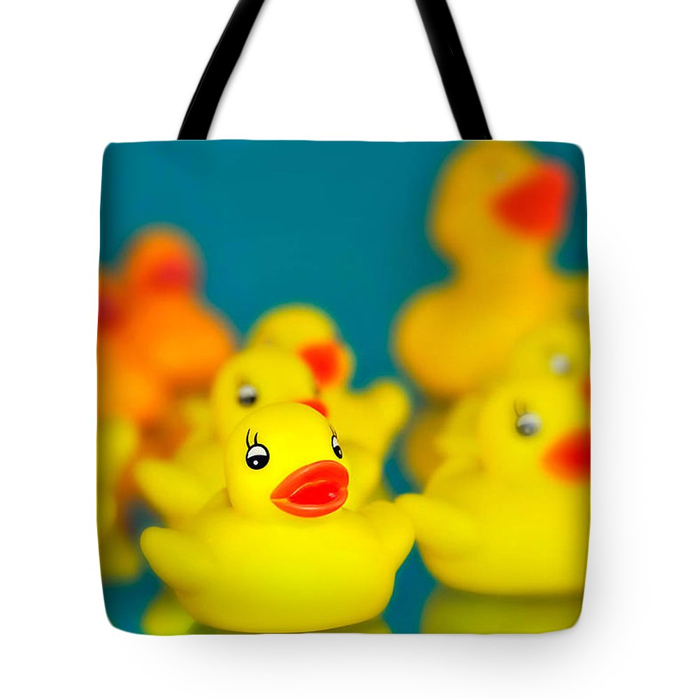 Rubber Ducky Tote Bag featuring the photograph You're The One by Carol Eade