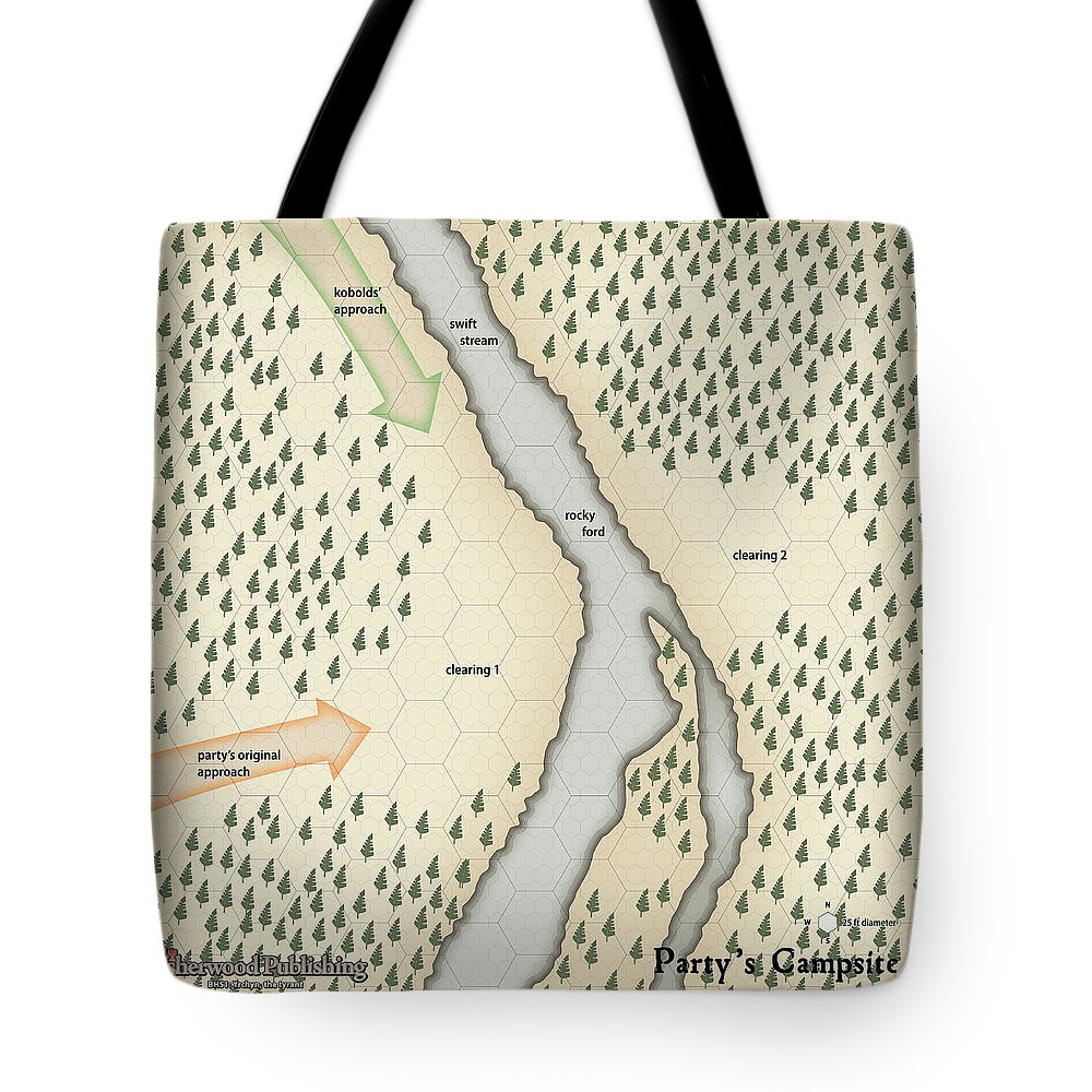 Usherwood Tote Bag featuring the digital art Yrchyn The Tyrant Party's Campsite by James Kramer