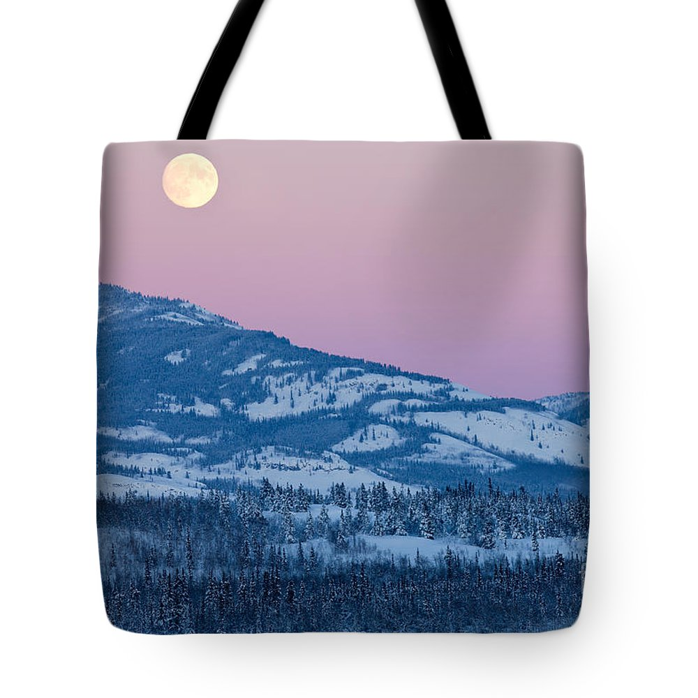 Beautiful Tote Bag featuring the photograph Yukon Canada Winter Landscape And Full Moon Rising by Stephan Pietzko