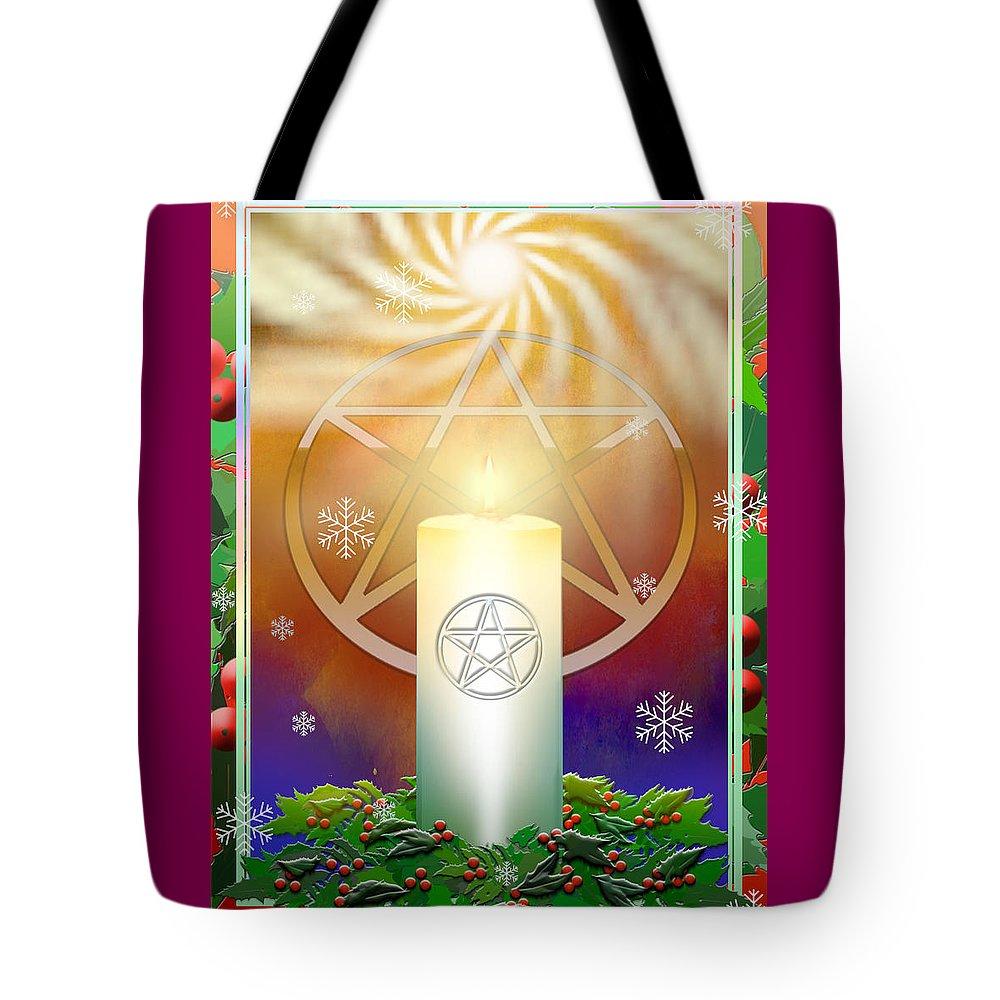 Yule Tote Bag featuring the digital art Yule Sun by Melissa A Benson