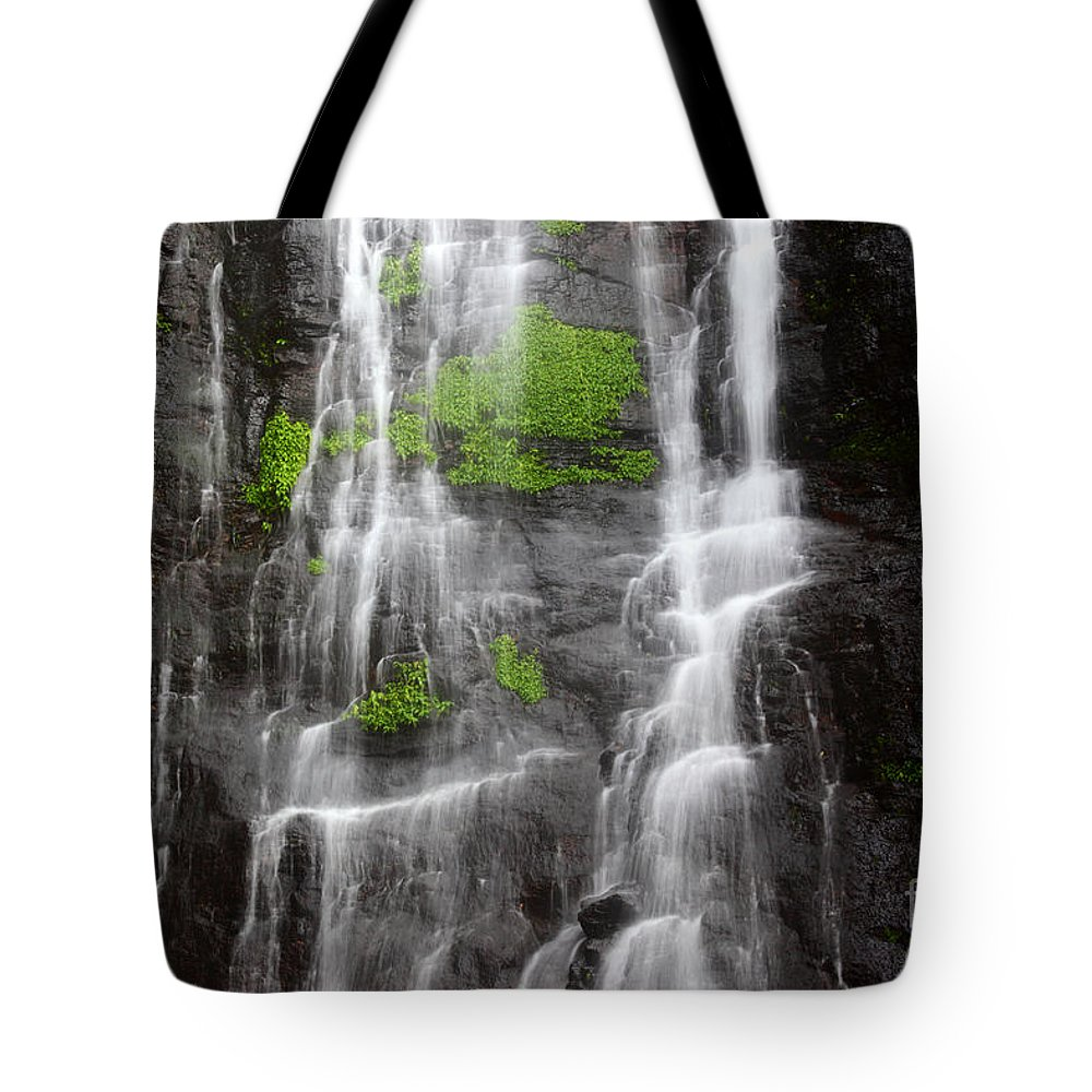 Waterfall Tote Bag featuring the photograph Yungas Waterfall Detail by James Brunker