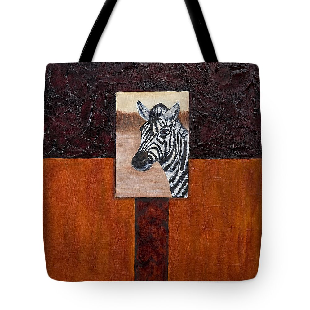 Animal Tote Bag featuring the painting Zebra by Darice Machel McGuire