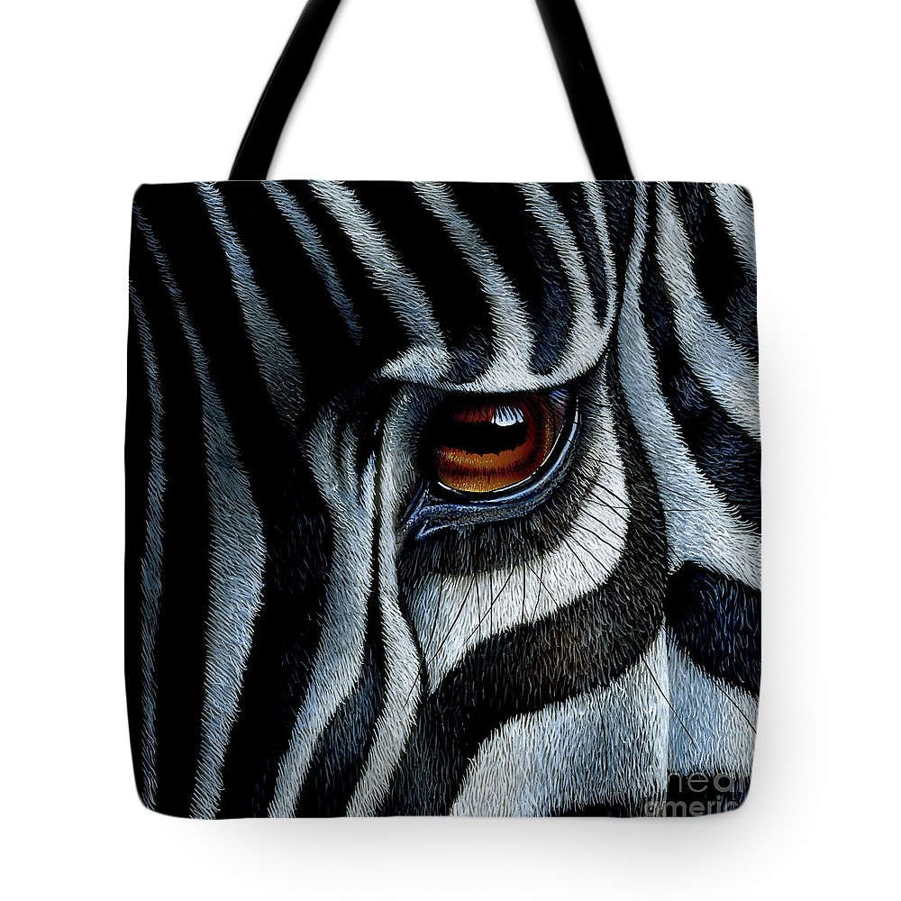 Zebra Tote Bag featuring the painting Zebra by Jurek Zamoyski