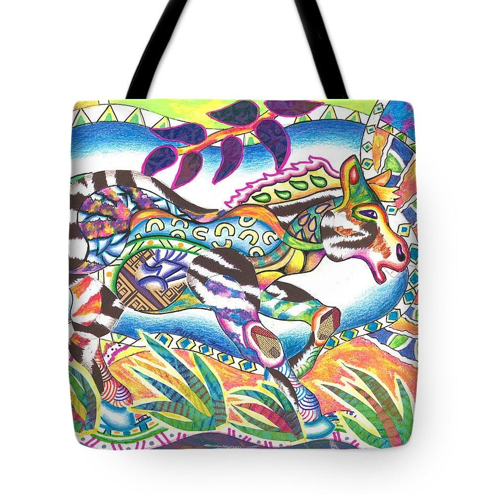Zebra Tote Bag featuring the mixed media Zuri - Zebra by Michael Andrew Frain