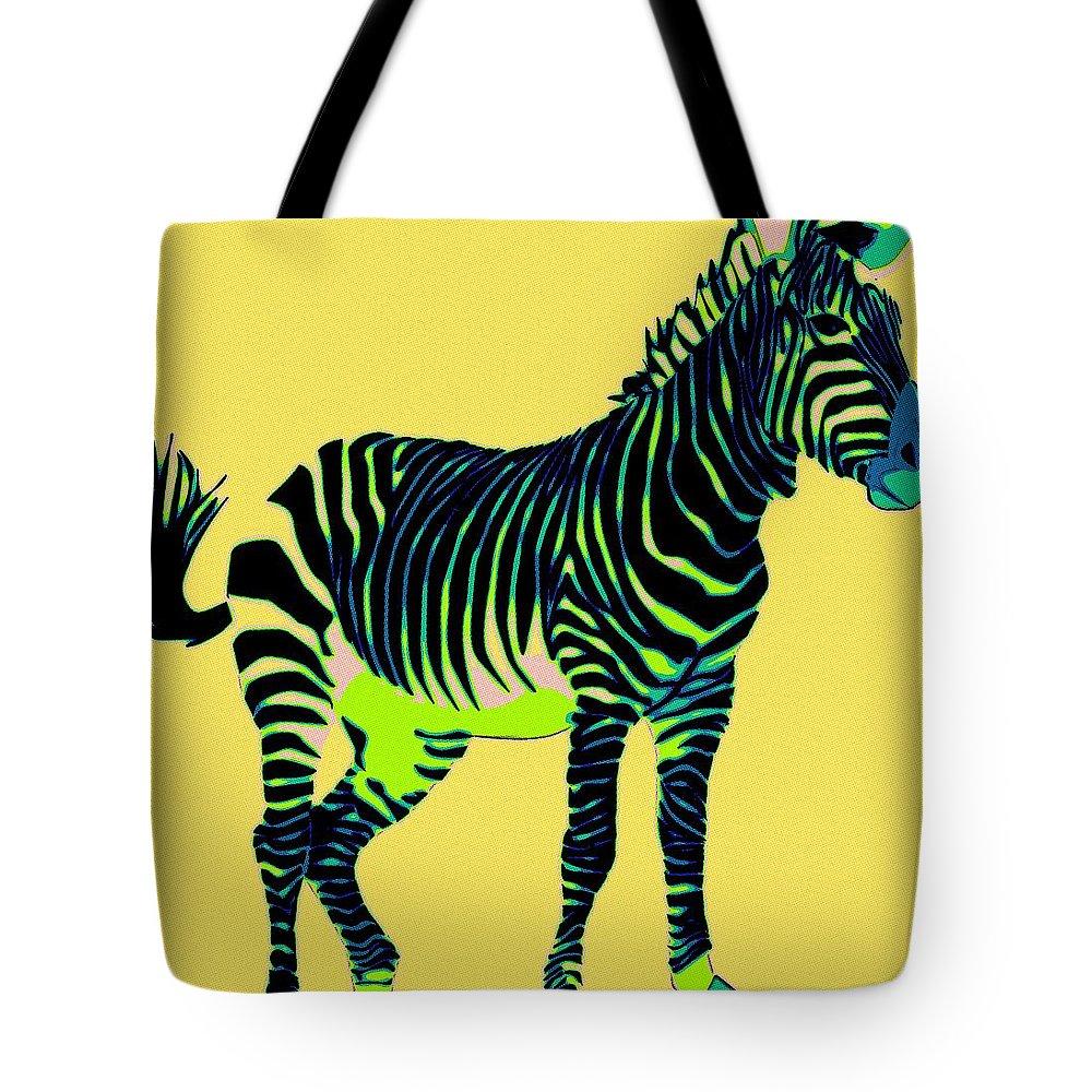 Zebra Tote Bag featuring the painting Zebra Pop Art by Florian Rodarte