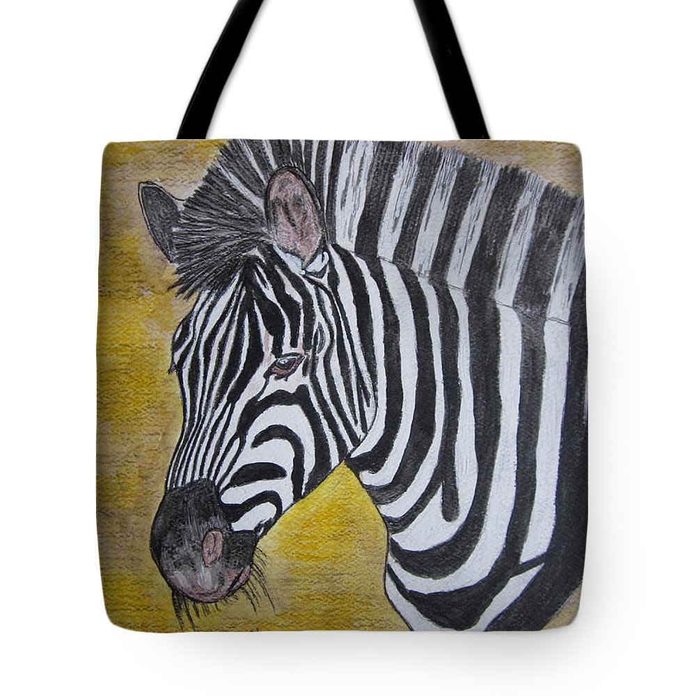 Zebra Tote Bag featuring the painting Zebra Portrait by Kathy Marrs Chandler