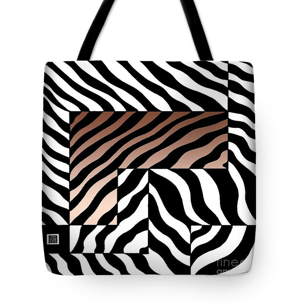 Graphic Image Tote Bag featuring the drawing Zebra Squares by Joseph J Stevens