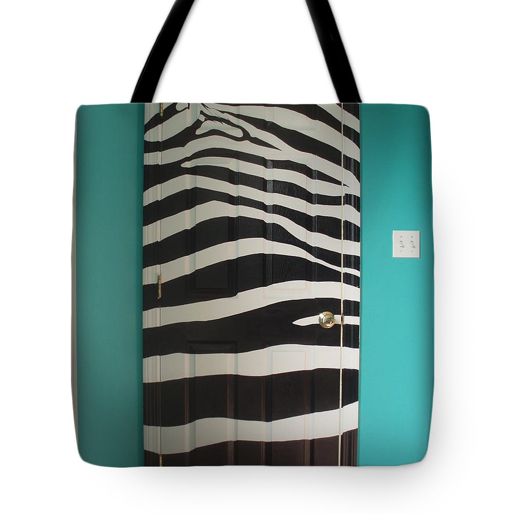 Design;mural; Zebra; Stripes; Wild; Black And White Tote Bag featuring the painting Zebra Stripe Mural - Door Number 2 by Sean Connolly
