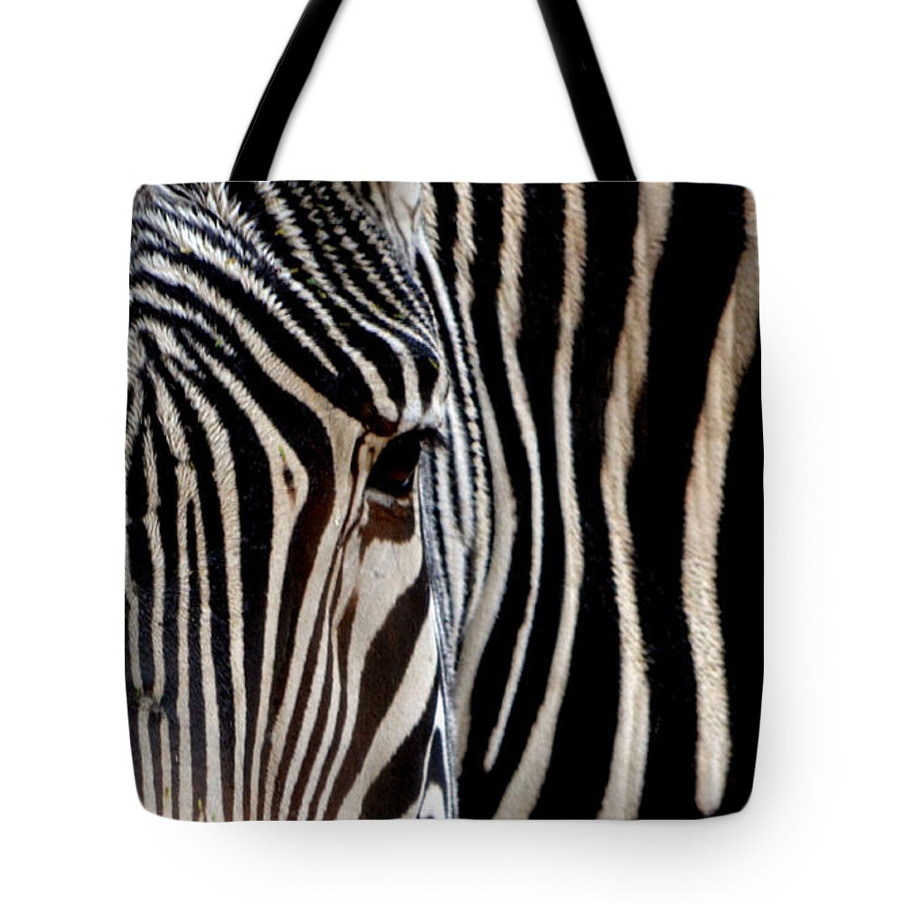 Zebra Tote Bag featuring the photograph Zebras Face To Face by Nadalyn Larsen