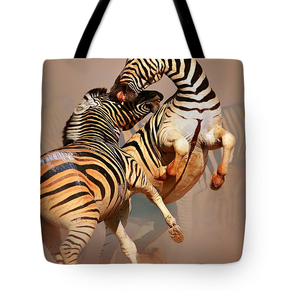 Wild Tote Bag featuring the photograph Zebras Fighting by Johan Swanepoel