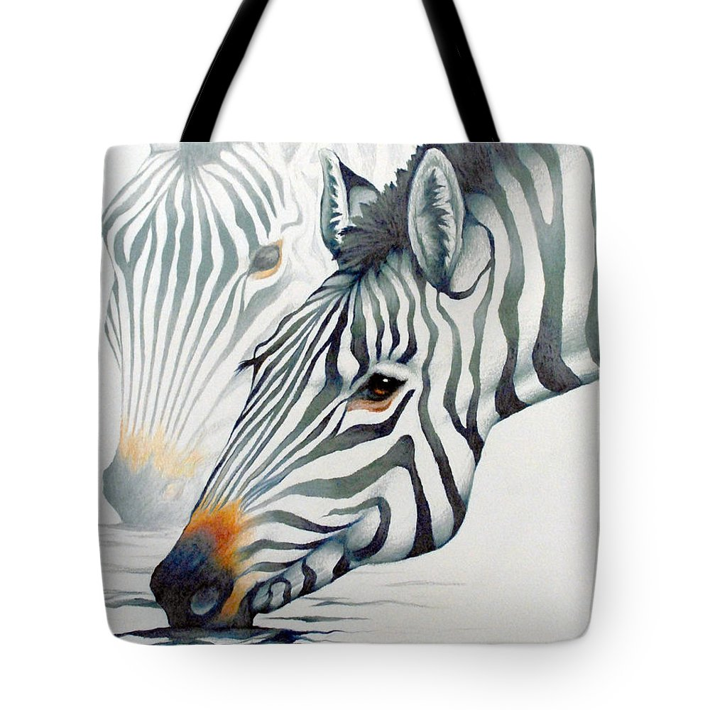 Zebras Animals Wildlife Africa Nature Tote Bag featuring the drawing Zebras by Mary Zins