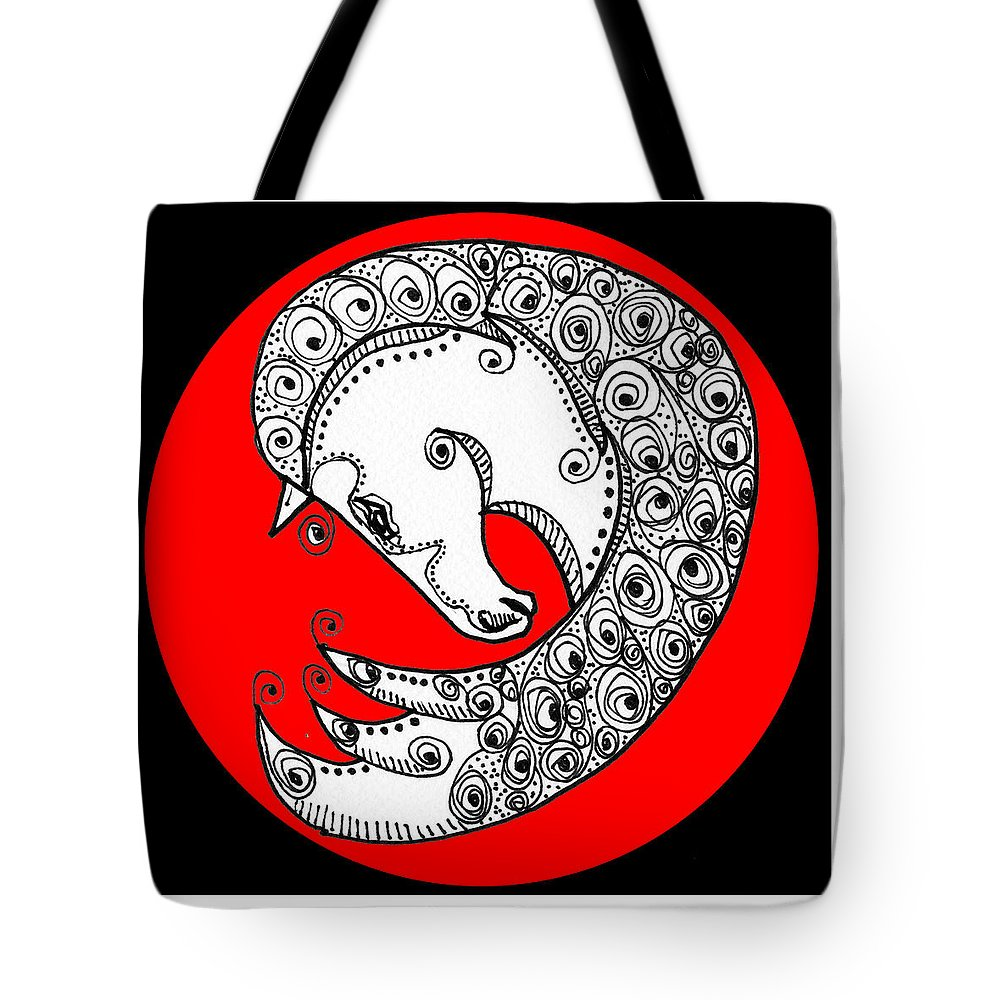 Horse Tote Bag featuring the digital art Zen Horse White by Shannon Story