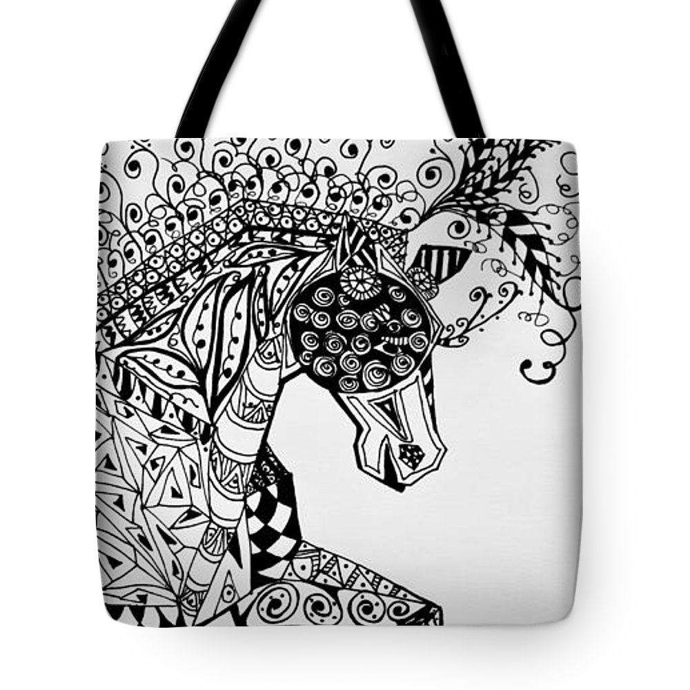 Horse Art Tote Bag featuring the drawing Zentangle Circus Horse by Jani Freimann