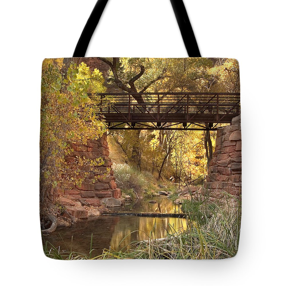 3scape Tote Bag featuring the photograph Zion Bridge by Adam Romanowicz