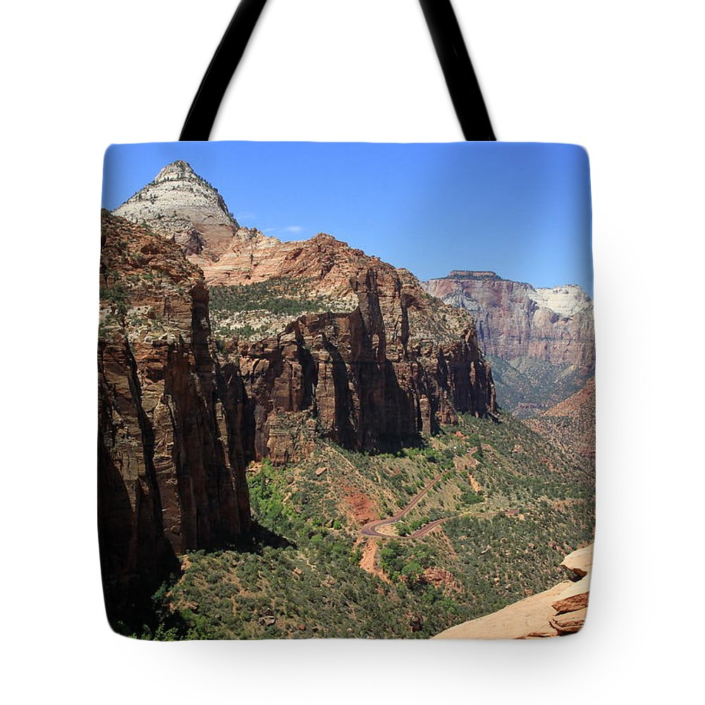 Zion Park Tote Bag featuring the photograph Zion Canyon Overlook by Christiane Schulze Art And Photography