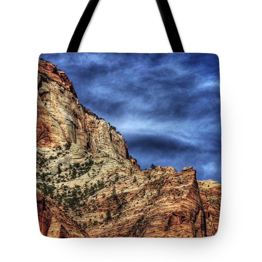 Zion Tote Bag featuring the photograph Zion Face 695 by Jerry Sodorff