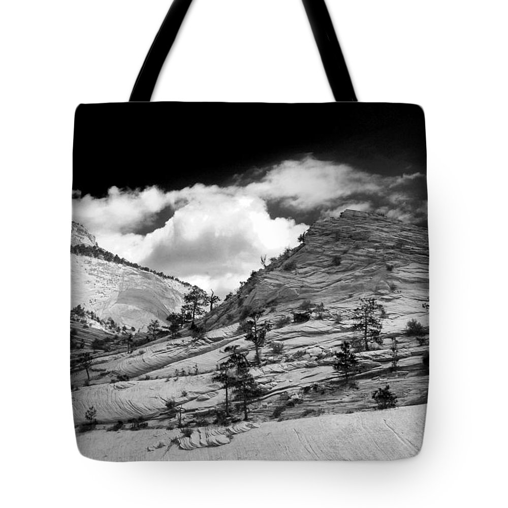Zion National Park Tote Bag featuring the photograph Zion National Park In Black And White by Tracy Winter