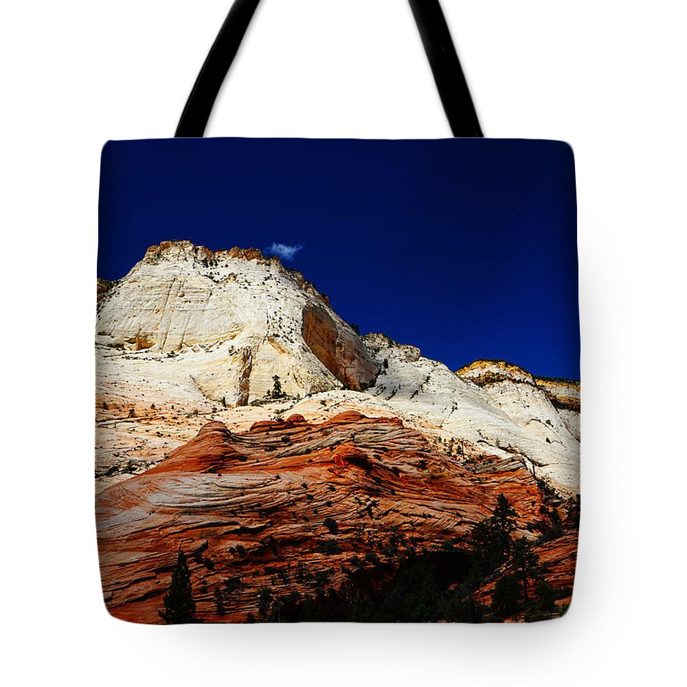 Zions Mount Tote Bag featuring the photograph Zions Mount by Tayne Hunsaker