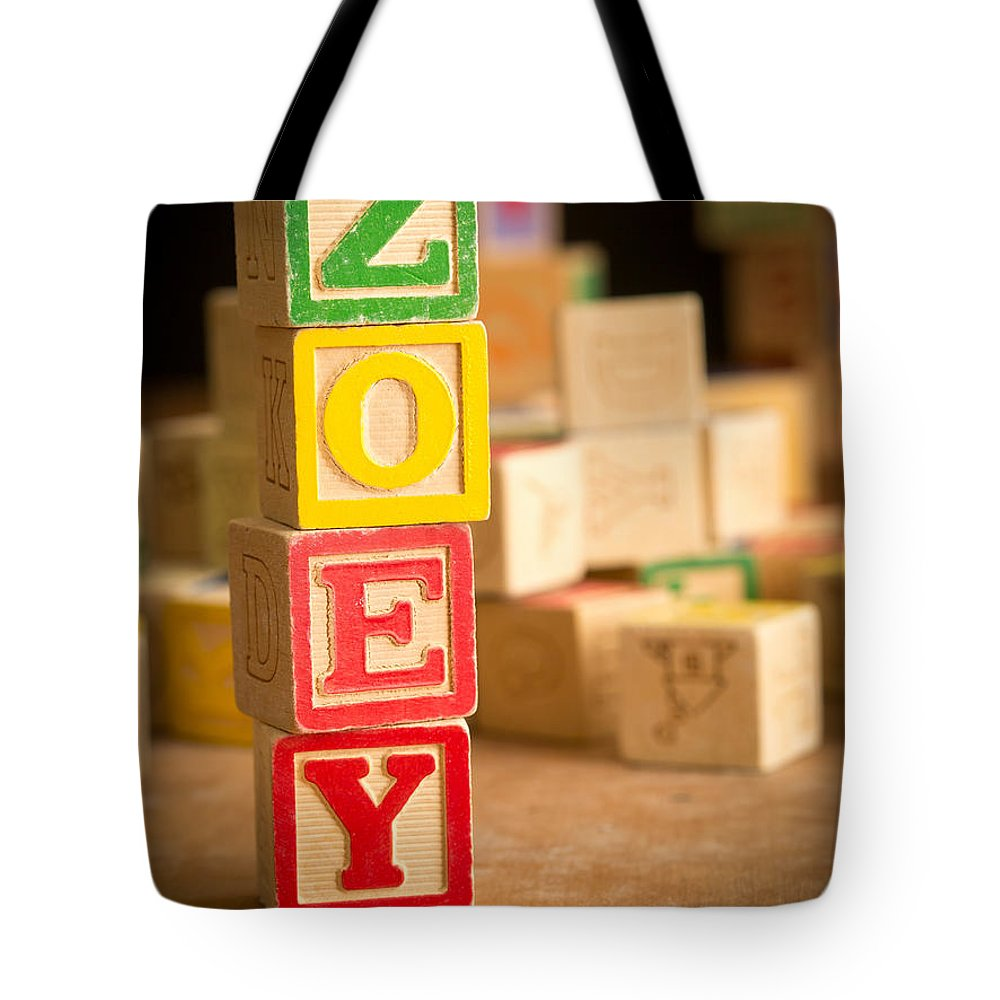 Abcs Tote Bag featuring the photograph Zoey - Alphabet Blocks by Edward Fielding